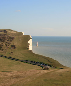 View of Beachy Head Lighthouse from the Beach Hut room at Belle Tout Lighthouse