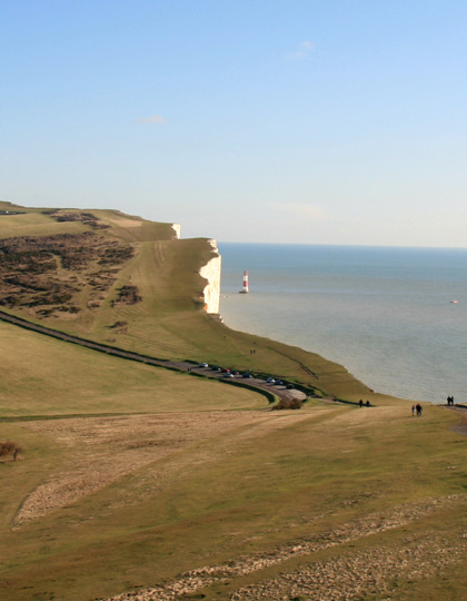 Captains Cabin bed and breakfast room with views of the Beachy Head Lighthouse