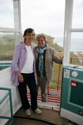 Sandi Toksvig and Vron Groocock at the Belle Tout Lighthouse, Beachy Head, Eastbourne