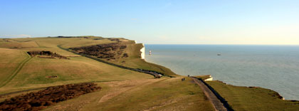 Looking towards the new lighthouse at Beachy Head